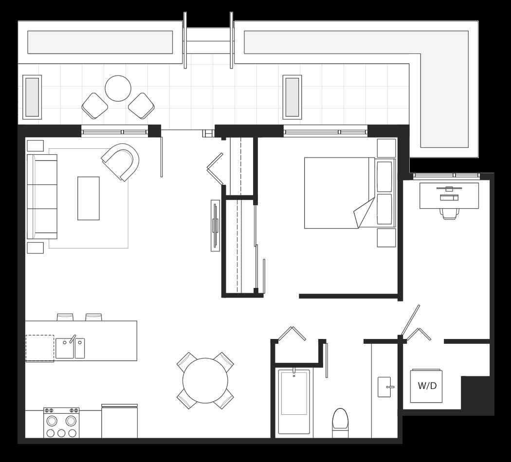 Eternity 1-bedroom + den floorplan.