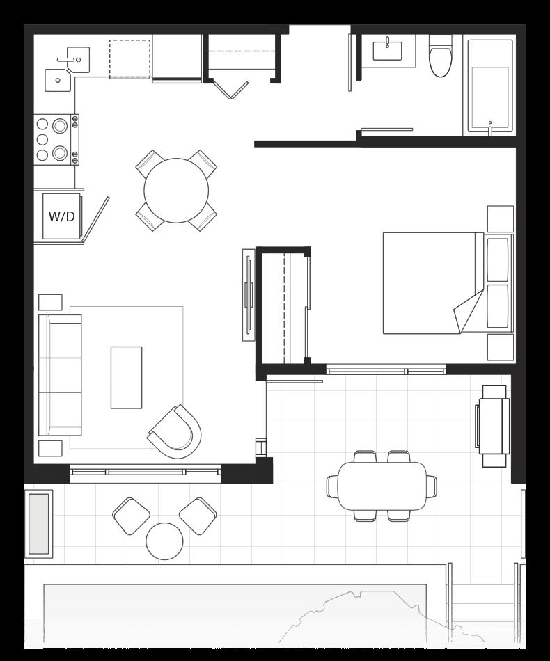 Eternity 1-bedroom floorplan.
