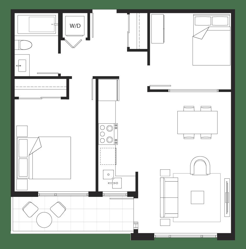 Eternity junior 2-bedroom floorplan.