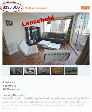 Leasehold condo in Vancouver's West End
