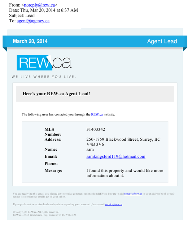 REW.ca lead form used by scammers sample