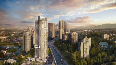 Beedie Living's visually striking tower Slate will rise in Burnaby's sought-after Brentwood skyline