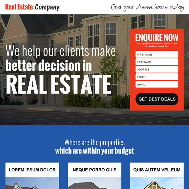 Real estate website landing page example 2 Square 1 group