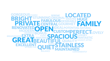 Really Great Word Cloud: Agents' Most-Used Adjectives