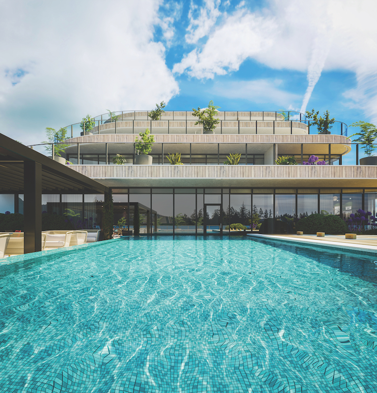 CLOSE UP RENDERING OF POOL